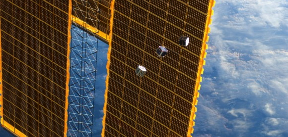 A Cube satellite nearing ISS. Source: Singularityhub.com